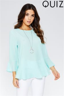 Quiz Crepe Frill Sleeve Necklace Top