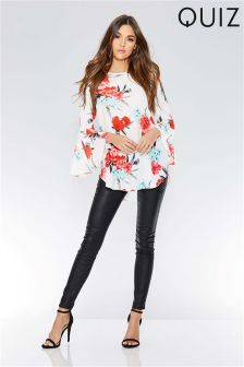 Quiz Floral Print Ruffle Sleeve Top