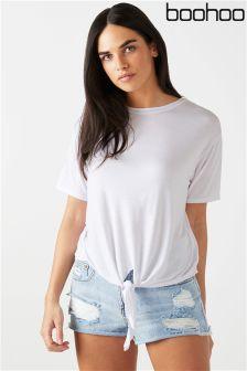 Boohoo Tie Front T-Shirt