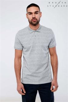Broken Standard Textured Stripe Polo Shirt