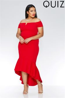 Quiz Curve Bardot Dip Hem Maxi Dress