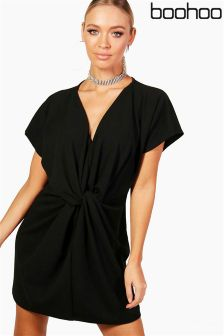 Boohoo Twist Knot Front Detail Bodycon Dress