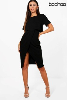 Boohoo Petite Split Sleeve Detail Midi Dress