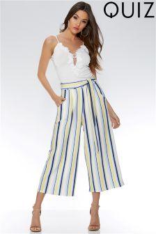 Quiz Stripe Tie Belt Culotte Trouser