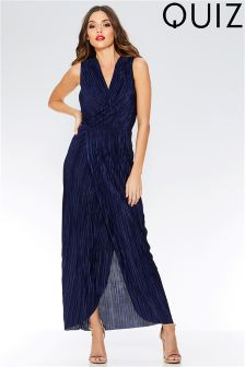 Quiz Pleat Wrap Over Maxi Dress