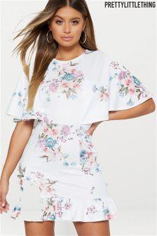 PrettyLittleThing Floral Print Frill Tea Dress