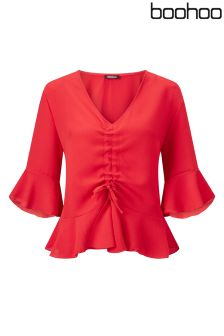 Boohoo Plus Rouched Front Woven Blouse