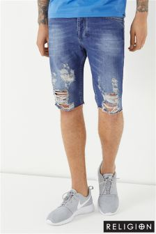 Religion Slashed Denim Shorts