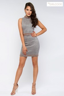 The Girl Code Embellished Suede Bodycon Dress