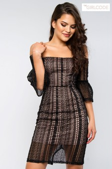 The Girl Code Lace Bardot Bodycon Dress