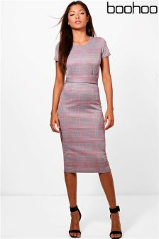 Boohoo Check Belted Midi Dress