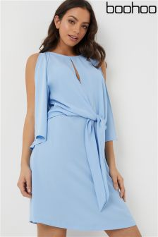 Boohoo Knot Front Shift Dress
