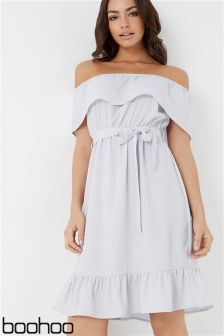 Boohoo Core Spot Print Bardot Shift Dress