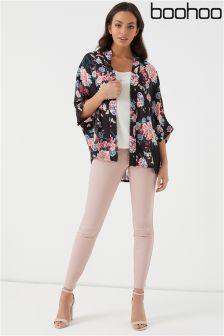 Boohoo Printed Kimono Blazer