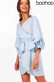 Boohoo Core Ruffle Wrap Shift Dress