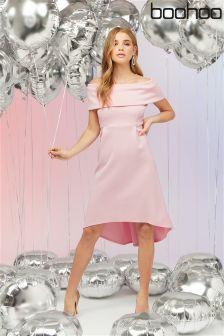 Boohoo Bardot Dip Hem Skater Dress