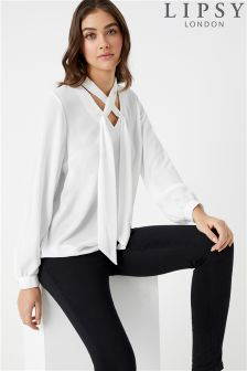 Lipsy Criss Cross Choker Blouse