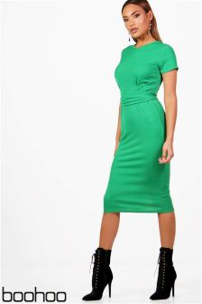 Boohoo Pleat Front Belted Midi Dress