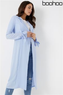 Boohoo Belted Tie Cuff Duster Coat