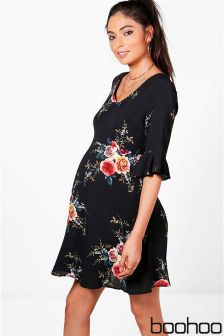 Boohoo Maternity Ruffle Hem Skater Dress