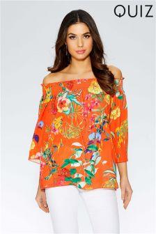 Quiz Floral Sheer Bardot 3/4 Sleeve Top
