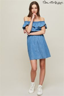 Miss Selfridge Frill Bardot Denim Dress