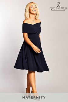 Want That Trend Maternity Bardot Twist Front Dress