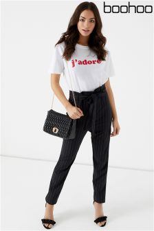 Boohoo Pinstripe Paperbag Trouser