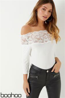 Boohoo Basic Lace Trim Short Sleeve Body