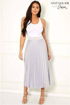 Sistaglam Loves Jessica Pleated Midi Skirt
