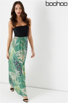 Boohoo Bandeau Print Maxi Dress