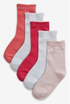 Pink And White Plain Socks Five Pack (Older Girls)