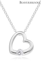 Beaverbrooks Silver Cubic Zirconia Heart Pendant Necklace