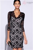 Lipsy Lace Long Sleeve Overlay Dress