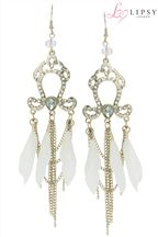 Lipsy Feather Chandelier Earrings