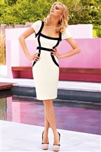 Lipsy Ribbed Panel Bodycon Dress