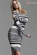 Lipsy Long Sleeve Midi Stripe Dress
