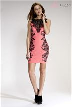 Lipsy Lace Embossed Bodycon Dress
