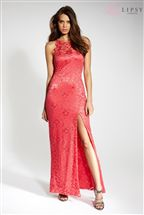 Lipsy High Neck Cutaway Lace Maxi Dress