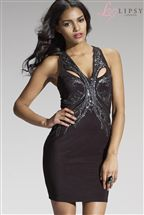 Lipsy V Neck Sequin Bodycon Dress