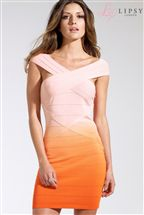Lipsy Cross Neck Dip Dye Bandage Dress