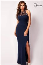 Jessica Wright Lace Maxi Halter Dress