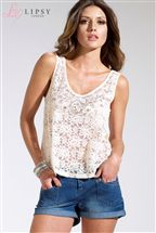 Lipsy Lace Front Jersey Back Top