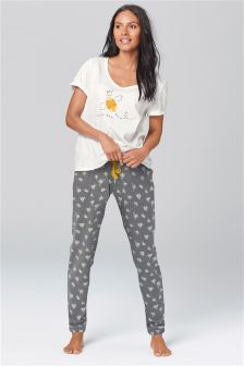 White Bee Print Jersey Pyjamas