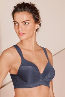 Blue High Impact Light Pad Wired Sports Bra