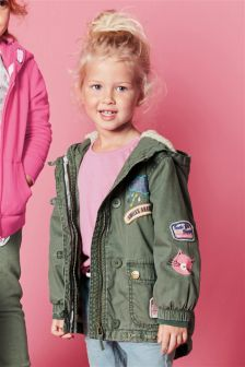 Khaki Badge Embellished Parka (3mths-6yrs)