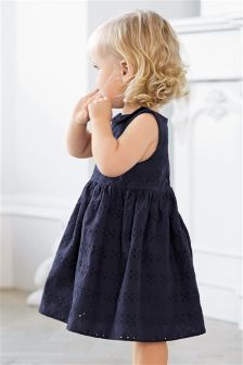 Navy Broderie Dress with Knickers (0mths-2yrs)