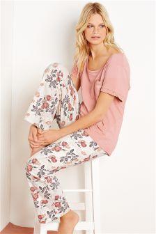 Pink Rose Print Jersey Pyjamas