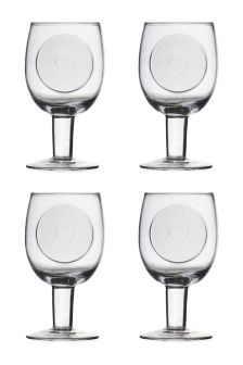 Set Of 4 Hand Made Embossed Wine Glasses