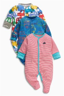 Multi Car All-Over Print Sleepsuits Three Pack (0mths-2yrs)